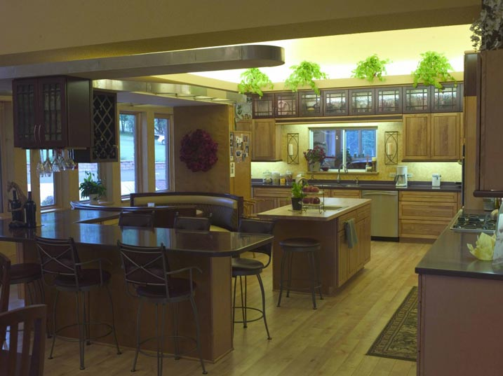 Spacious open kitchen with dining