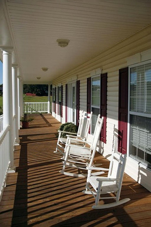 The spacious porch surrounding the house
