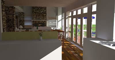 The inside is sun-filled due to multiple glass walls.