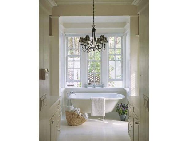 The luxurious bathroom with a classy tub