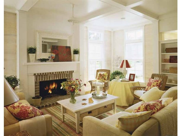 Stellar fireplace in a cozy family room