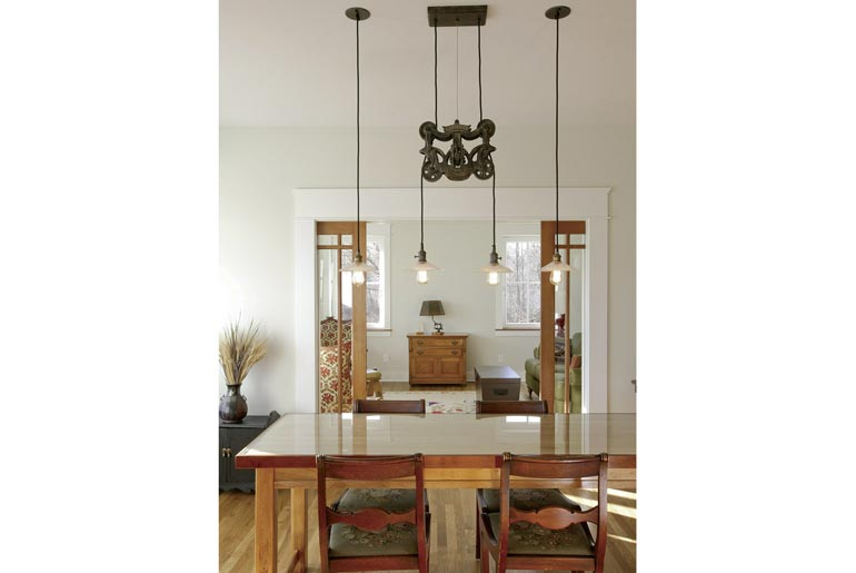 Unique fixtures and a balance of hard and soft tones