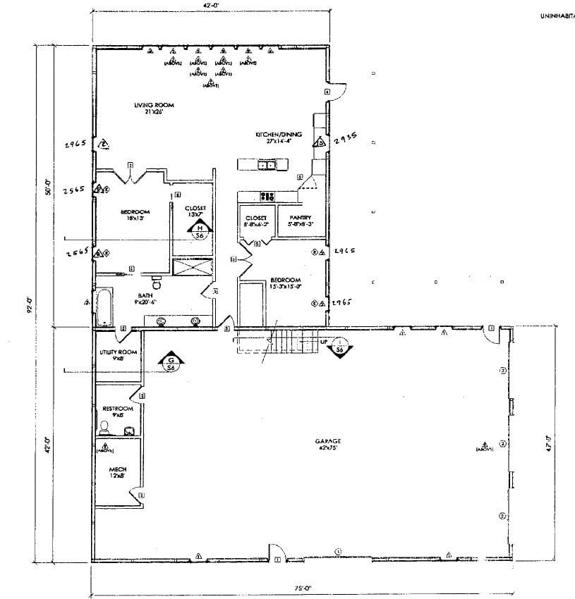 Maintenance free metal building home hq plans pictures for Metal building office floor plans
