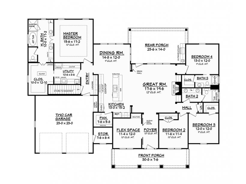 Terrific one storey country ranch home hq plans metal for Two story metal building homes floor plans