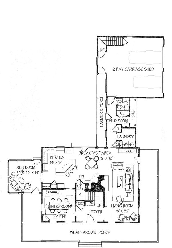 New england farmhouse w wrap around porch hq plans for New england homes floor plans