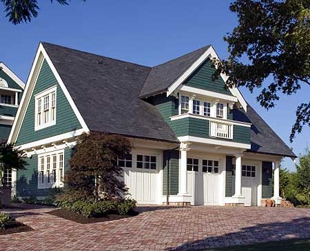 Double duty 3 car garage cottage w living quarters hq for 4 car garage plans with living quarters