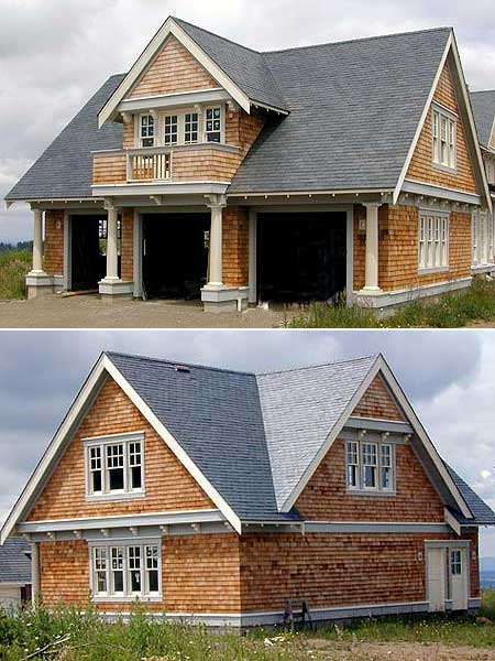 Double duty 3 car garage cottage w living quarters hq for Home designs 3 car garage