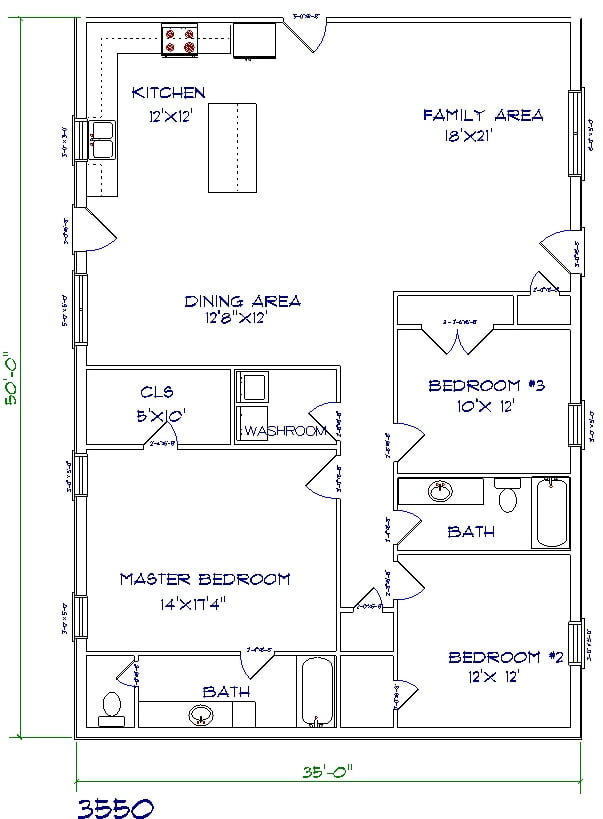 3 bed, 2 bath - 35'x50' 1750 sq. ft.