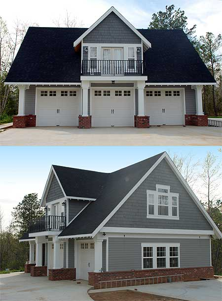 Double duty 3 car garage cottage w living quarters hq for House plans with loft over garage