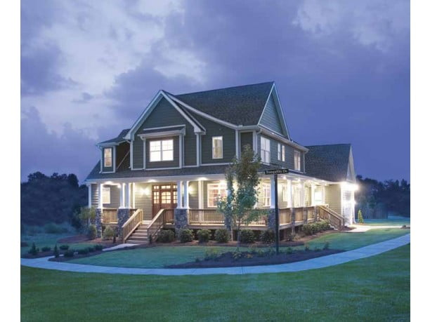 Impressive farmhouse w wrap around porch hq plans for Metal building farmhouse plans