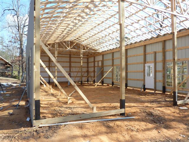 One man 80 000 this awesome 30 x 56 metal pole barn for Bonus room truss design