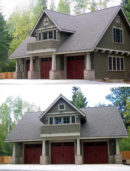Double duty 3 car garage cottage w living quarters hq for Three car garage house plans