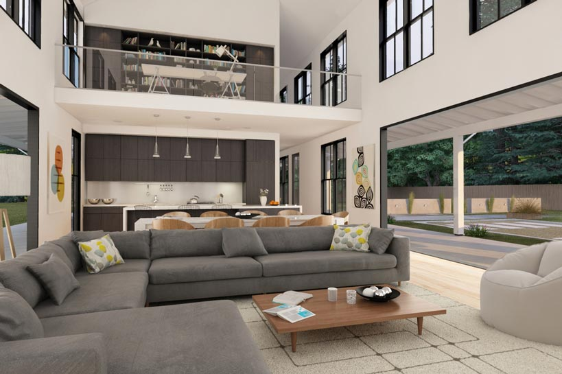 The spacious living room that meets the dining area and the kitchen. Not to mention the office area resting on top