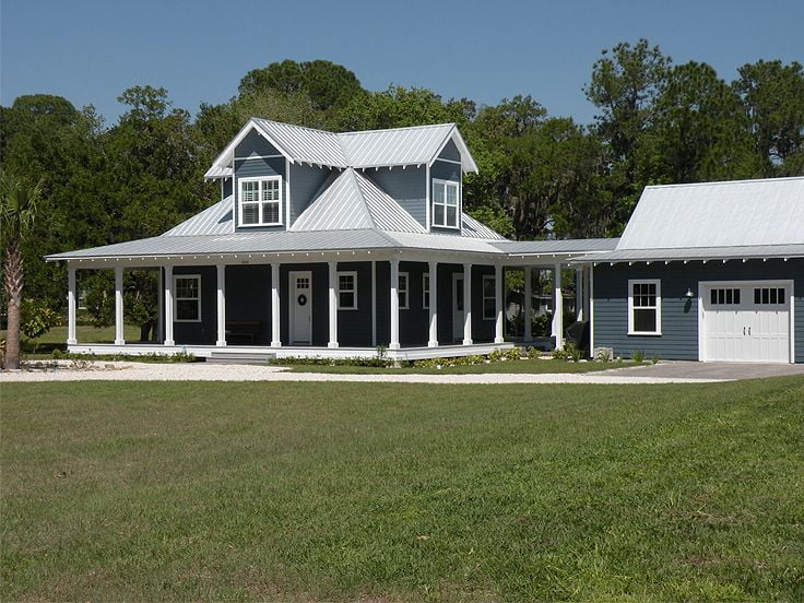 Country ranch home w wrap around porch hq plans for Metal building farmhouse plans