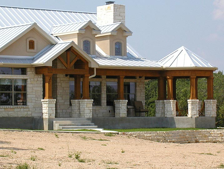 Unique ranch house w steel roof wrap around porch hq for Ranch style metal homes