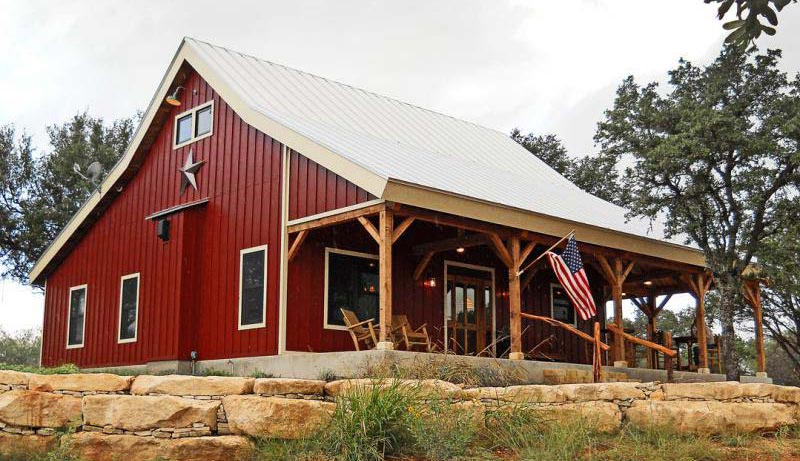 Country barn home kit w open porch 9 pictures metal for Metal buildings made into houses