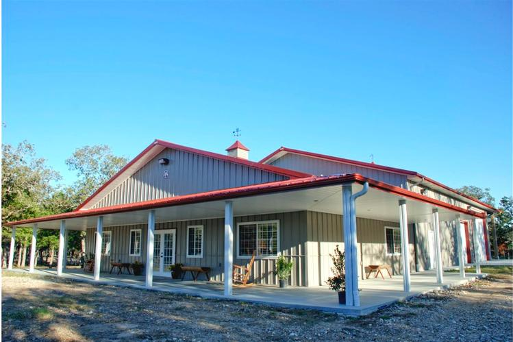 Impressive metal barndominium home w abundant storage 24 for Front porch kits for sale